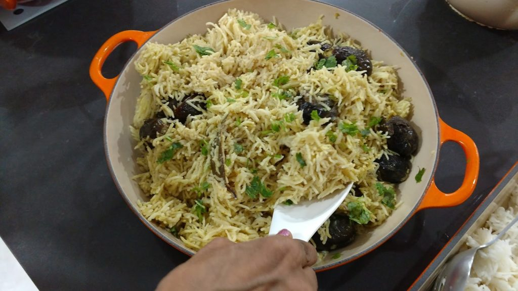 This was a delicate eggplant biryani rice dish I adored.