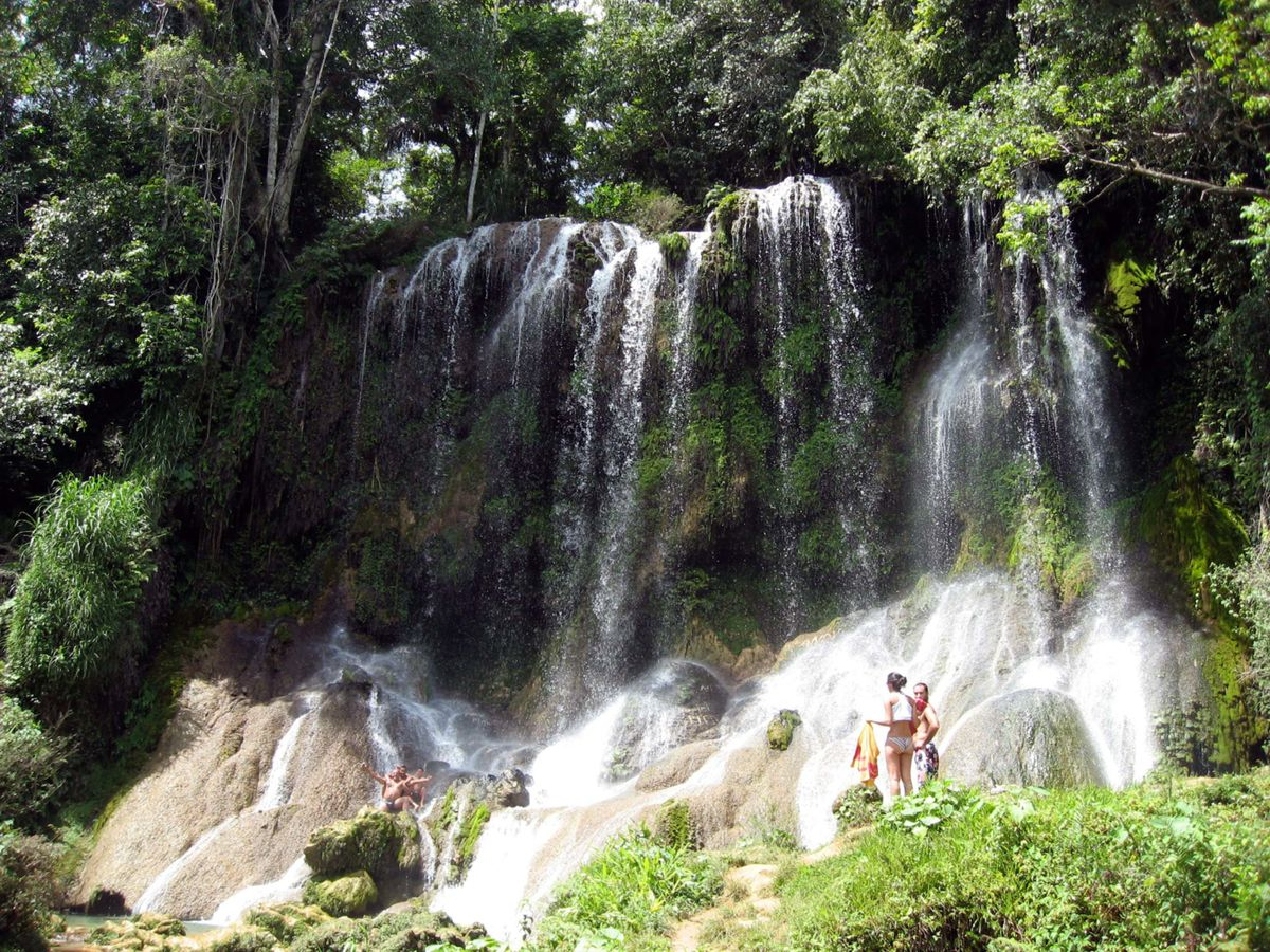 The waterfalls at El Nicho in Topes de Collante, near Trinidad, Cuba. Source: Wikitravel page for Topes de Collante.