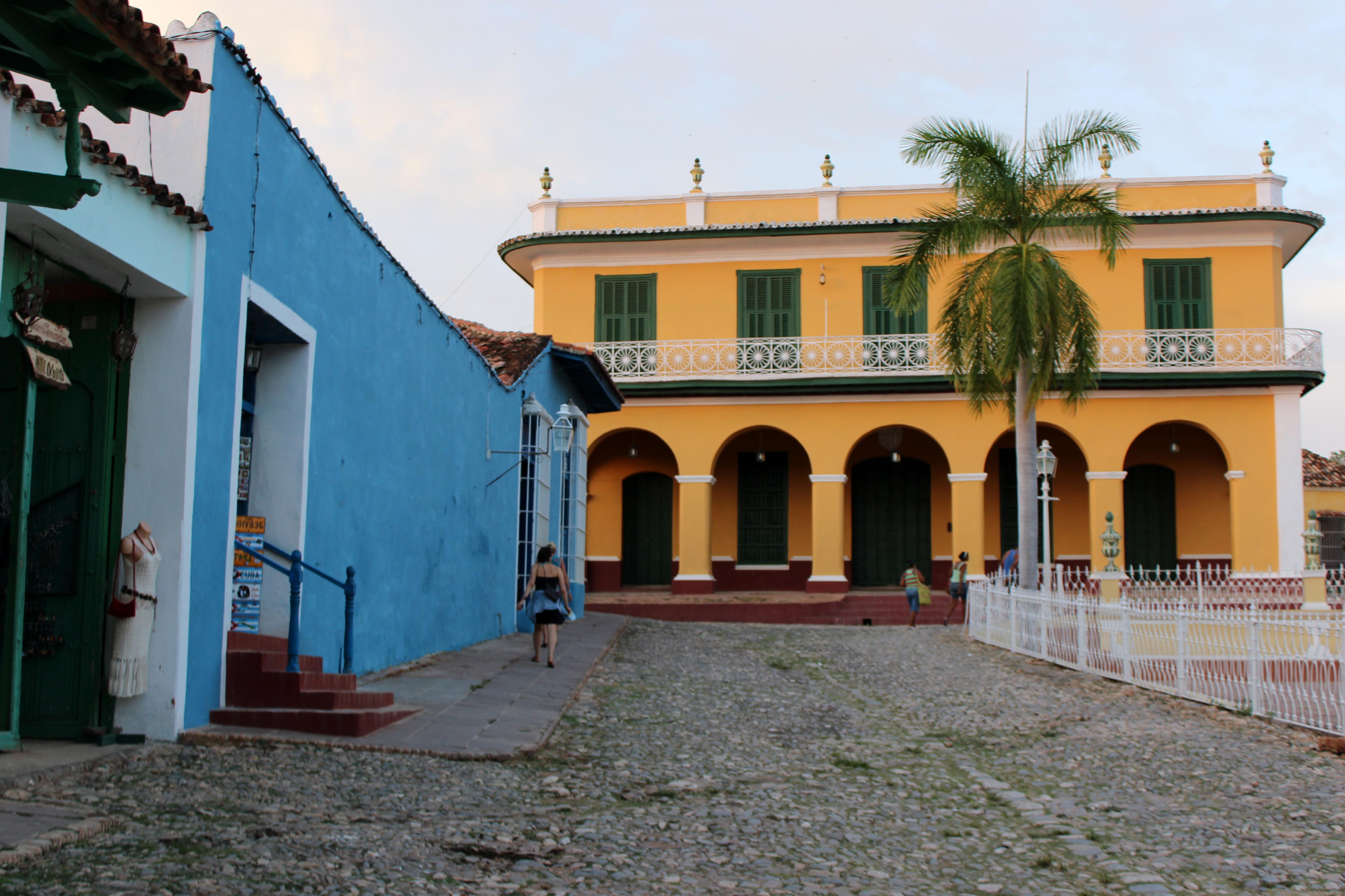 Walking near the Plaza Mayor in Trinidad, Cuba.